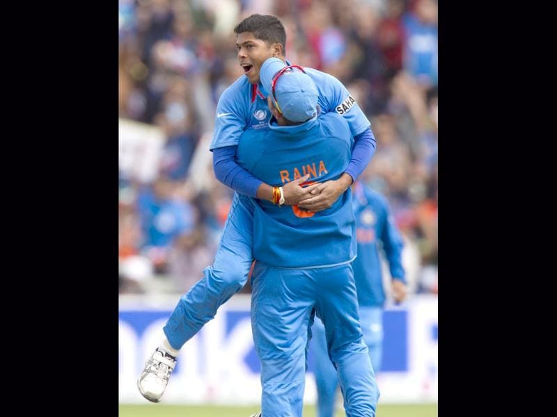 Umesh Yadav celebrates in vain thinking he has taken the wicket of Pakistan's Nasir Jamshaid during the Champions Trophy match at Edgbaston in Birmingham, England. AP