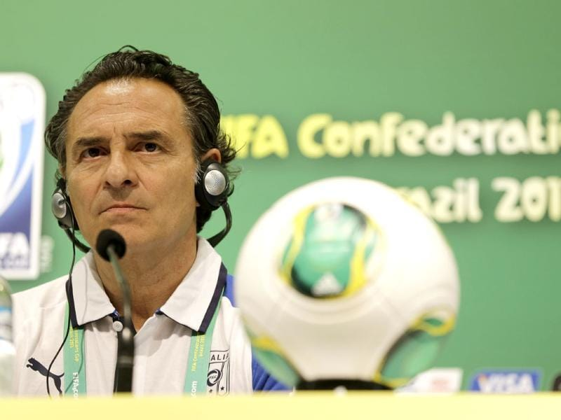 Italy coach Cesare Prandelli attends a press conference of Italy at the soccer Confederations Cup in Rio de Janeiro, Brazil. AP