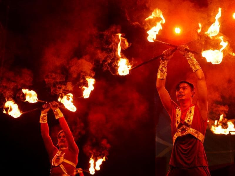 Artists perform during the opening of the 2013 International Kiev Fire Fest in the Ukrainian capital. AFP photo