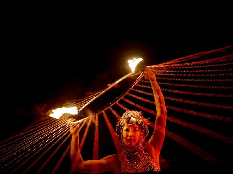 An artist performs during the opening of the 2013 International Kiev Fire Fest in the Ukrainian capital. AFP photo