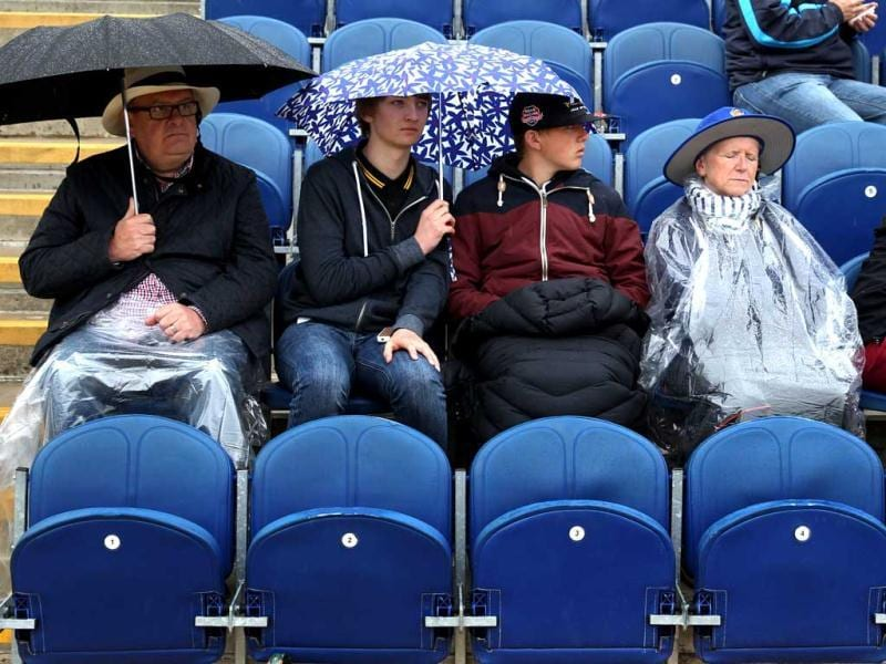 Rain delays the start of England vs New Zealand ICC Champions trophy cricket match, at the SWALEC Stadium, Cardiff, Wales. AP Photo