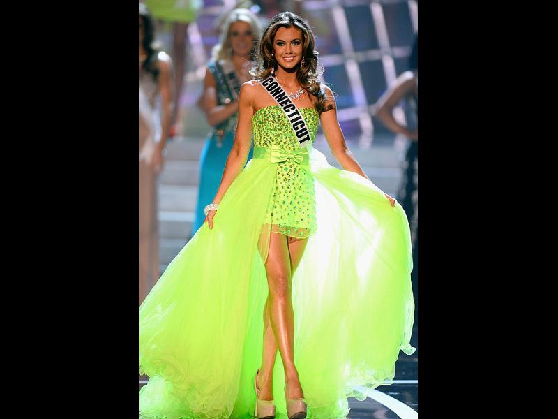 Miss Connecticut USA Erin Brady walks onstage during the 2013 Miss USA pageant at PH Live at Planet Hollywood Resort & Casino in Las Vegas, Nevada. Brady went on to be crowned the new Miss USA. AFP