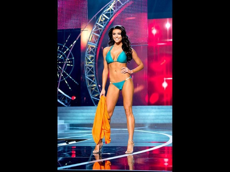 Miss Utah USA 2013, Marissa Powell, competes in her ViX Paula Hermanny swimsuit during the 2013 Miss USA Competition at PH Live in Las Vegas, Nevada. AFP