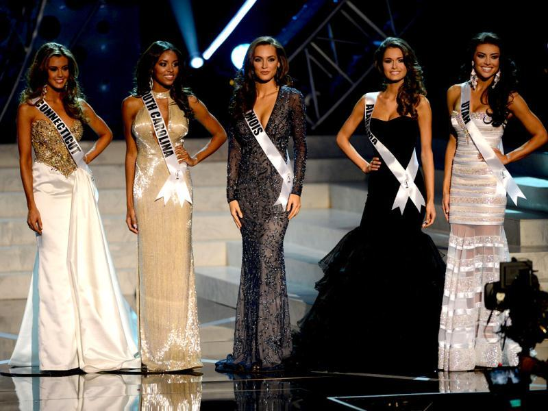 Result awaited! Miss USA finalists stand in a row patiently. (AP Photo)