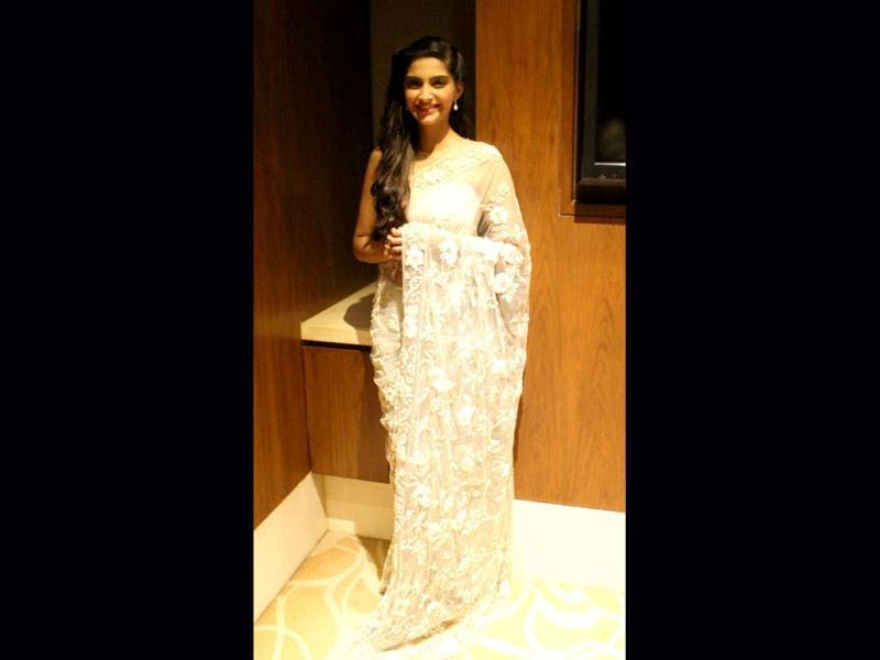 Sonam in a white sari during promotions for Raanjhanaa at Delhi.