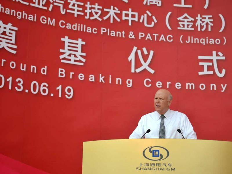 General Motors chairman and CEO Dan Akerson speaks at a ceremony in Shanghai. US auto giant General Motors broke ground on a $1.3 billion plant in Shanghai to produce Cadillacs as it seeks a larger share of China's growing market for luxury cars. AFP