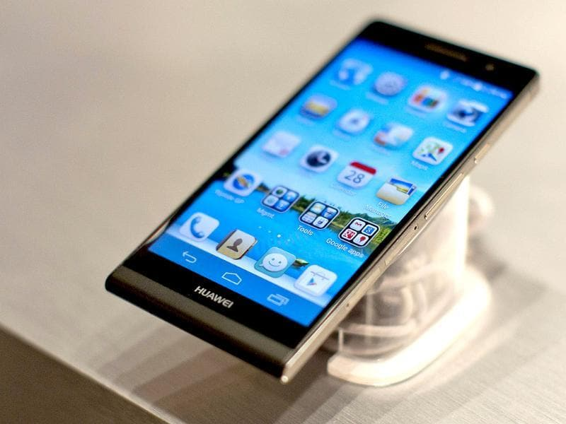 The new Huawei Ascend P6 smartphone is diplayed at the global launch in London. Photo: AFP / Justin Tallis