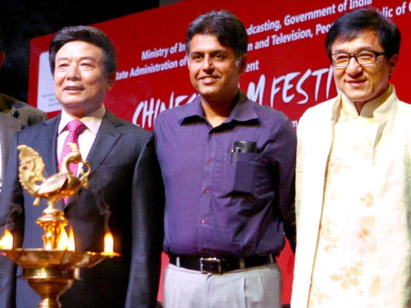 Union I & B Minister Manish Tewari (2nd R) with Chinese Actor, Director Jackie Chan (R) and others at the inauguration of Chinese Film Festival in New Delhi on Tuesday. (PTI Photo)