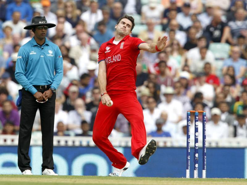 England's James Anderson delivers a ball during the ICC Champions Trophy Semi-final match against South Africa at the Oval in London. AFP
