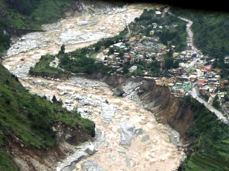 An aerial view of a flood-hit area in Chamoli, Uttarakhand on Tuesday. (PTI)