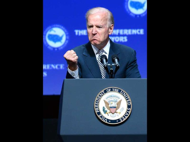US Vice President Joe Biden speaks at the 81st annual US Conference of Mayors at the Mandalay Bay Convention Center in Las Vegas, Nevada. (AFP)