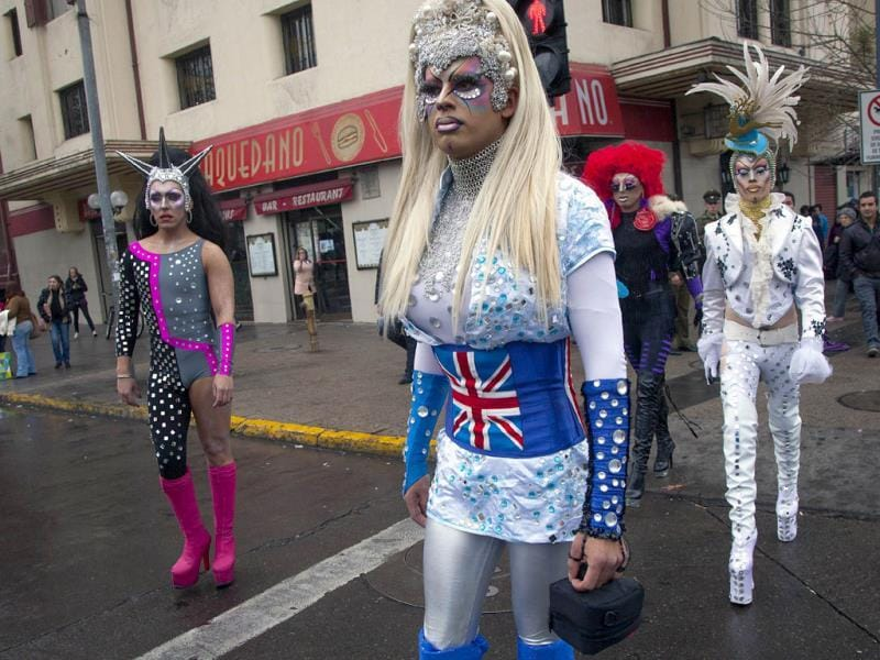 A group of Drag Queens take part in the Gay Pride Parade in Santiago. (AFP)