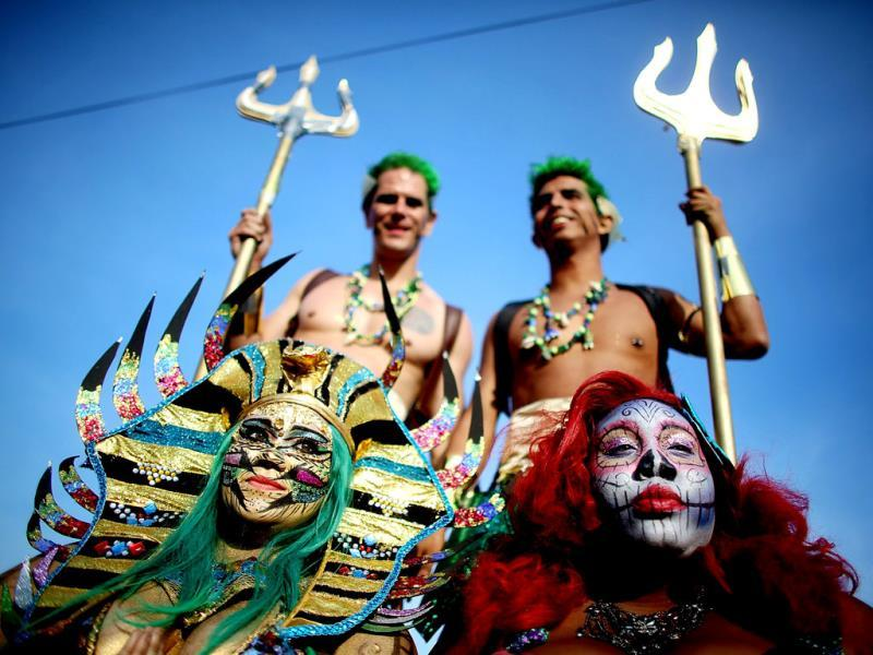 Revelers pose at the 2013 Mermaid Parade at Coney Island in the Brooklyn borough of New York City. (AFP)