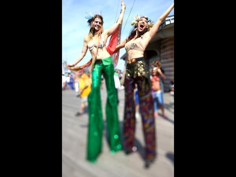 Revelers pose during the 2013 Mermaid Parade at Coney Island in the Brooklyn borough of New York City. (AFP)