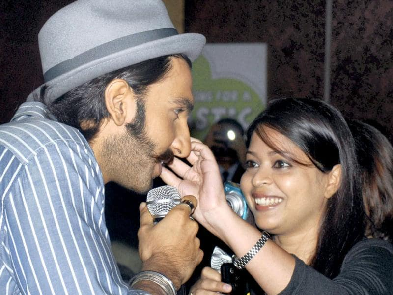 Ranveer Singh amuses a fan during promotion of Lootera in Kolkata on Saturday. (PTI Photo)