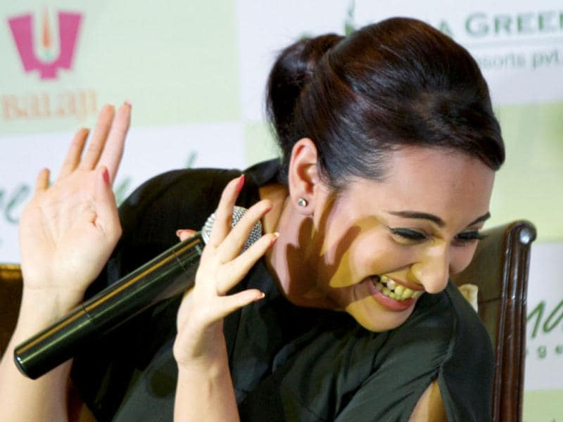Sonakshi Sinha seems to enjoy her time at the promotions for Lootera. (AP Photo)