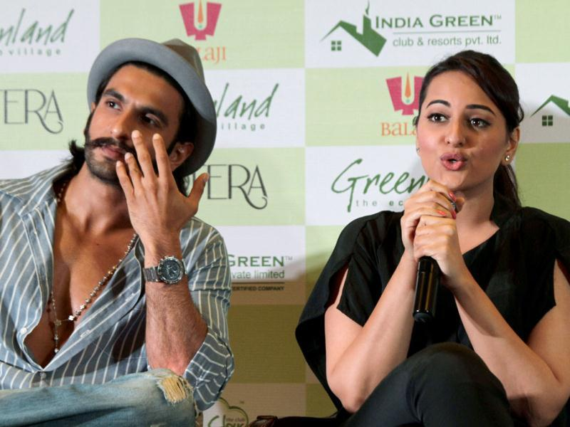 Sonakshi Sinha and Ranveer Singh at Lootera promotions on June 22, 2013. Lootera, a period romance drama is schedule to hit the theaters on July 5, 2013. (AP Photo)