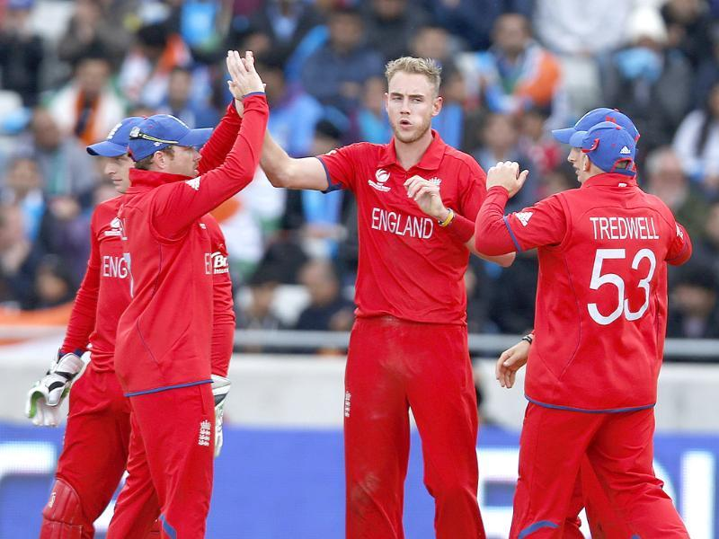 England's Stuart Broad celebrates his wicket of Rohit Sharma during their ICC Champions Trophy final match at Edgbaston ground in Birmingham, England. AP