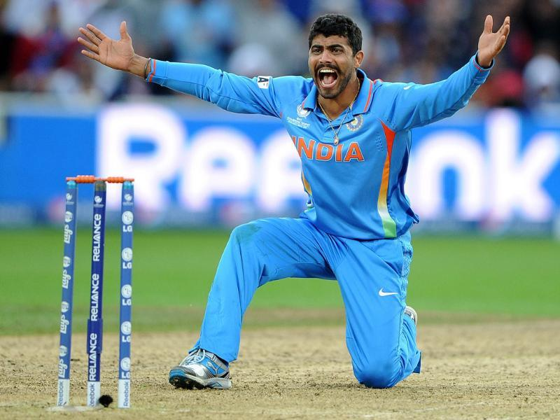 Ravindra Jadeja unsucessfully appeals for a wicket during the 2013 ICC Champions Trophy final match between England and India at Edgbaston in Birmingham. AFP