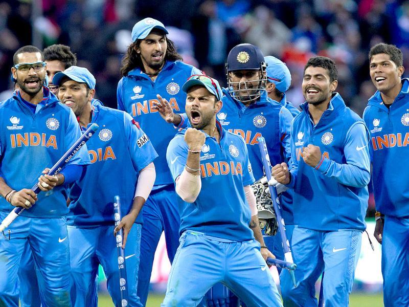 India celebrate beating England in their ICC Champions Trophy final match at Edgbaston cricket ground, Birmingham, England. AP