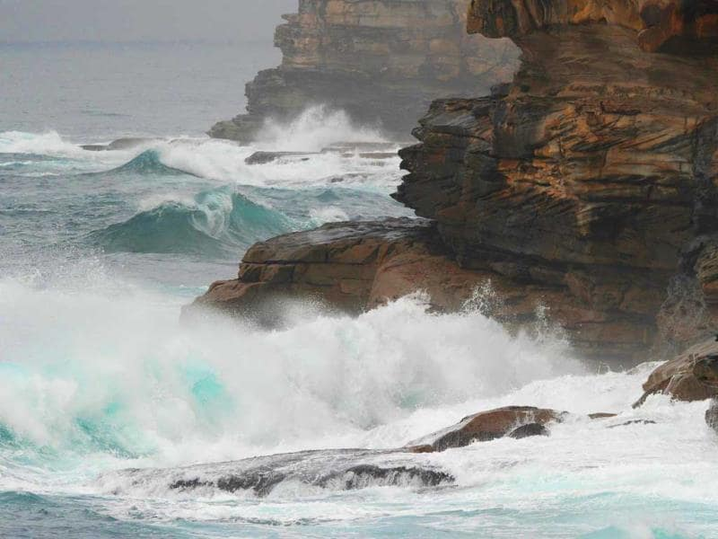 Large waves crash into cliffs at Bronte Beach near Sydney. (AFP)