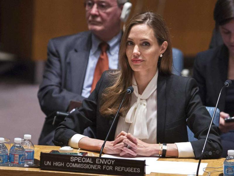 UNHCR special envoy actress Angelina Jolie listens during a United Nations Security Council meeting on women, peace, security, and sexual violence in conflict at United Nations Headquarters in New York. (Reuters Photo)