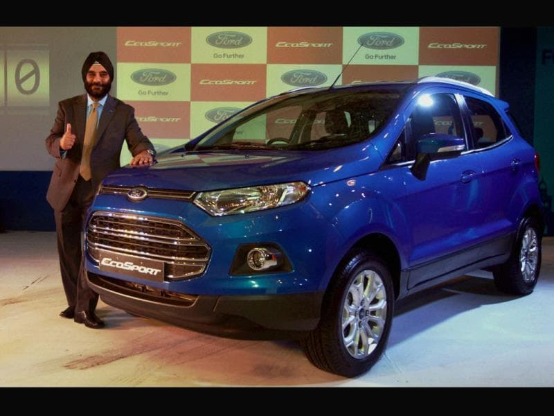President and Managing Director, Ford India, Joginder Singh gestures at the launch of new EcoSport car in New Delhi. Photo: PTI/Kamal Singh