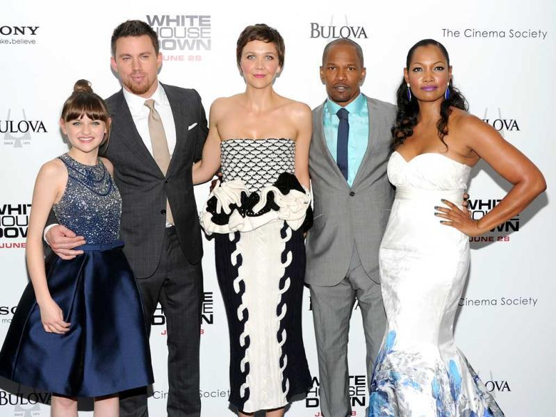 Cast members, from left, Joey King, Channing Tatum, Maggie Gyllenhaal, Jamie Foxx and Garcelle Beauvais attend the
