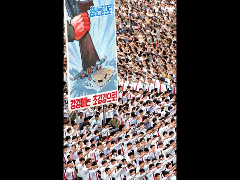 Photo released by North Korea's official Korean Central News Agency (KCNA) shows residents attending the