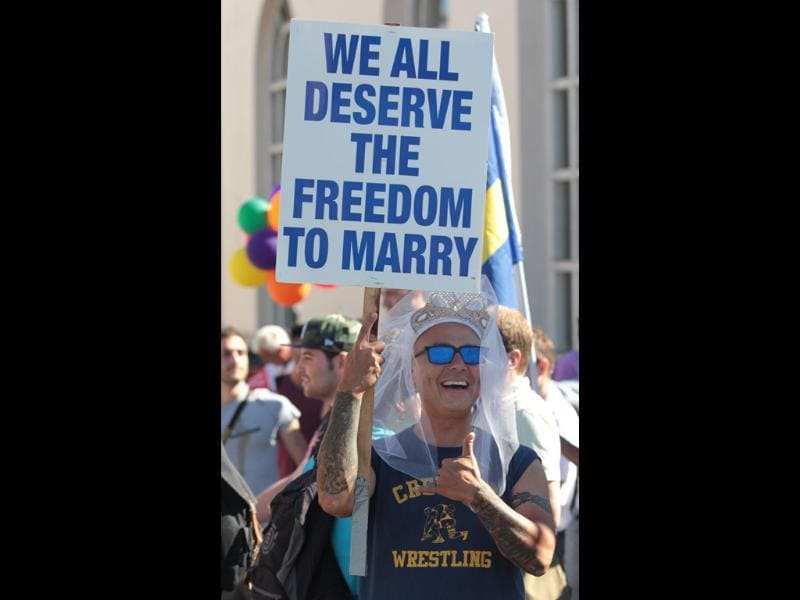 Hank Cancel celebrates the US Supreme Court's rulings on Prop. 8 and DOMA in the Castro District in San Francisco. AP Photo