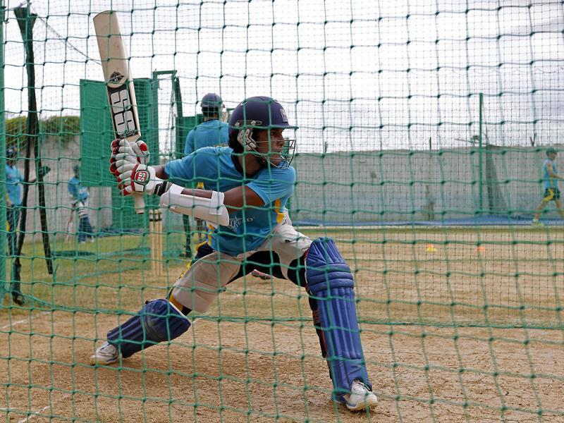 Sri Lanka's Dinesh Chandimal bats in the nets during a training session in Kingston, Jamaica. AP Photo