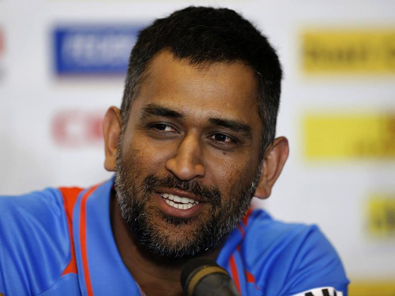 Mahendra Singh Dhoni speaks during the launch of the Tri-Nation Series in Kingston, Jamaica. AP Photo