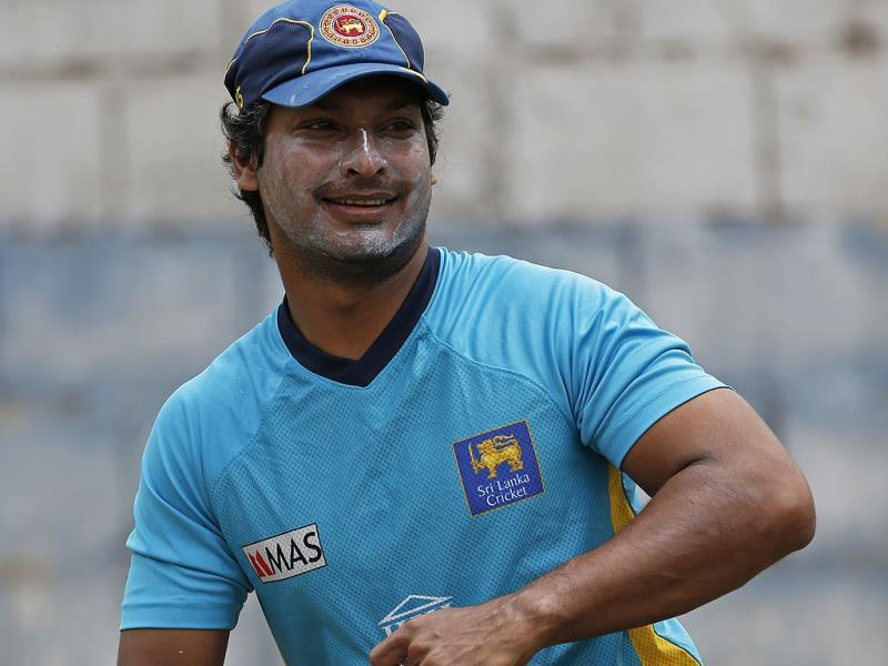 Sri Lanka's Kumar Sangakkara gets ready to bat in the nets during a training session in Kingston, Jamaica. AP Photo