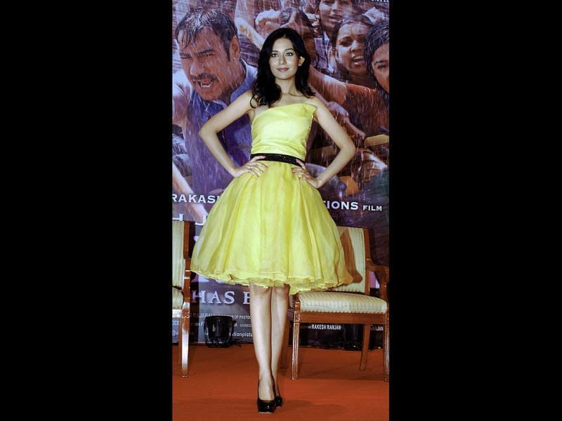 A petite Amrita Rao poses in a dress during the promotions. (AFP Photo)