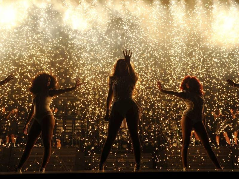 Singer Beyonce performs on her Mrs Carter Show World Tour 2013 during the BET Experience music festival in Los Angeles. AP