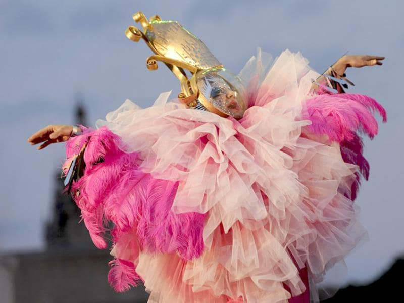 A performer parades during the drag queen election of the gay and lesbian pride parade in Barcelona. (AFP)