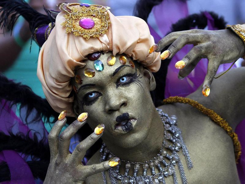 A reveller who is dressed up takes part in the annual Gay Pride Parade in Panama City. Reuters