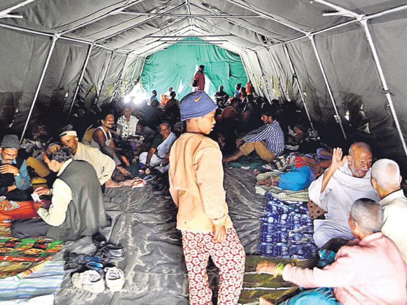 Army set up tents in the local school for pilgrims trickling in from Gangotri on foot. (HT Photo/Prasad Nichenametla)