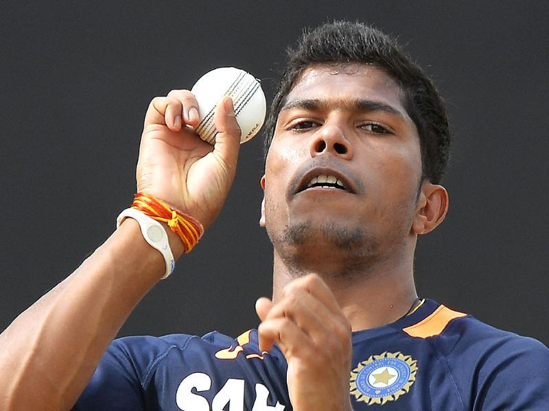 Umesh Yadav delivers a ball during a practice session at the Sabina Park stadium in Kingston. AFP