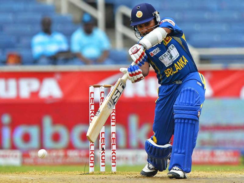 Mahela Jayawardene plays a shot during the third match of the Tri-Nation series between India and Sri Lanka at the Sabina Park stadium in Kingston. AFP Photo