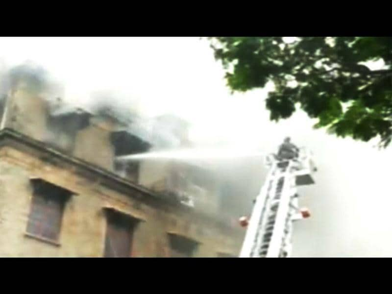 Fire broke out at the third floor of Ballard Pier Exchange building in south Mumbai. (Image courtesy: grab from CNN-IBN's footage)