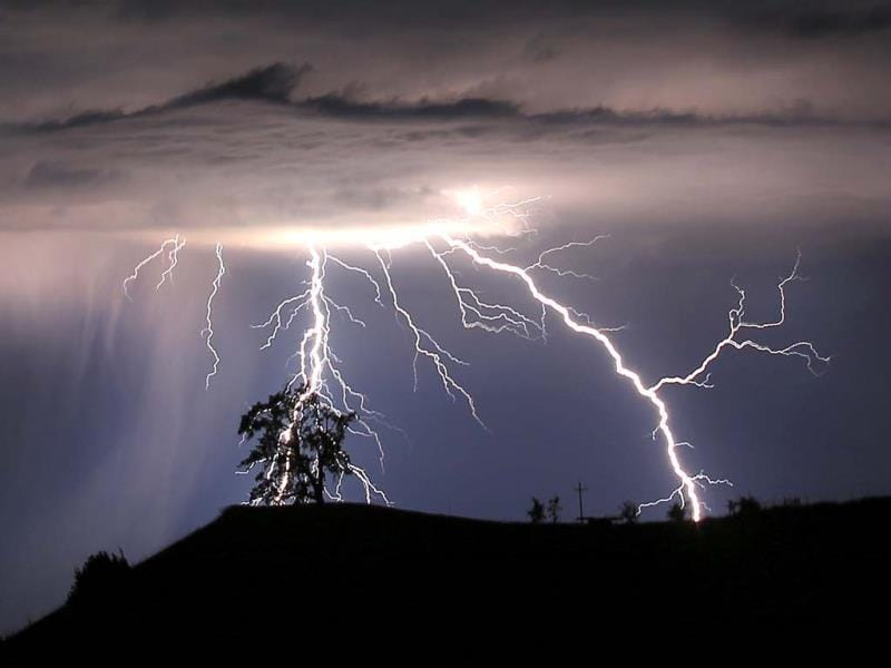 Lightning strikes above the Geysers area of northern Sonoma County near Geyserville, California. (AP)