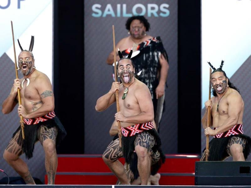 Te Waka Huia of New Zealand perform the hake during the Opening Ceremony for the America's Cup San Francisco, California. (AFP)