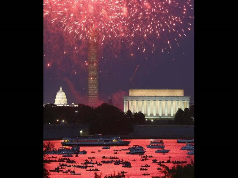 Independence Day fireworks light the sky over Washington. (Reuters)