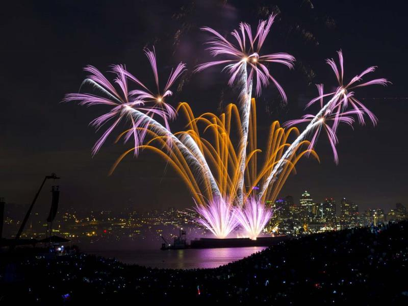 Fireworks explode over Lake Union during the Seafair Summer Fourth event in Seattle, Washington. (AP)