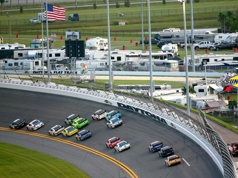 Cars race through turn one during the NASCAR Nationwide Series Subway Firecracker 250 at Daytona International Speedway in Florida. (AFP)