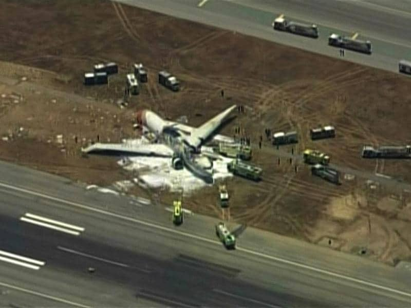 An Asiana Airlines Boeing 777 is pictured after it crashed while landing in this KTVU image at San Francisco International Airport in California, July 6, 2013.