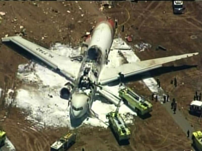 Aerial view of Asiana Airlines Boeing 777 is pictured after crash landing in this KTVU image at San Francisco International Airport in California, July 6, 2013.