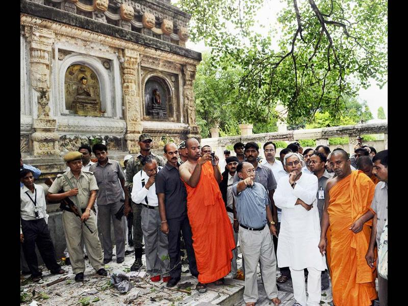 Bihar chief minister Nitish Kumar visits the Mahabodhi Temple after 9 blasts took place in Budh temples at Bodh Gaya. PTI