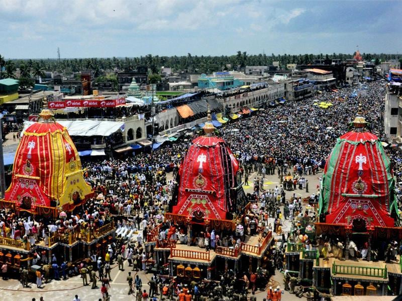 Three chariots of Lord Jagannath, Balabhadra and Subhadra during the annual